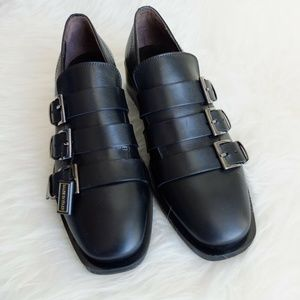 NEW Laura Bellariva Black Leather Buckle Shoes